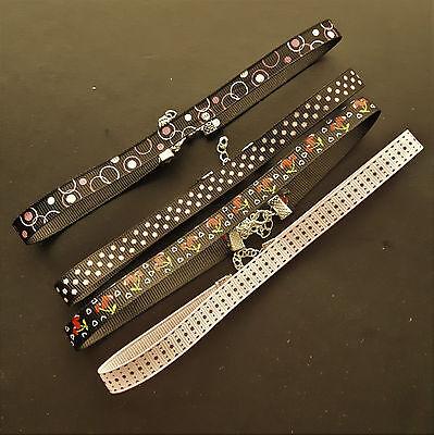 "ROCKABILLY necklace ribbon choker 13"" choose design 10mm retro grosgrain womens"