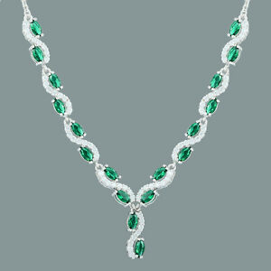 Lady Gift Zirconia 18K White Gold Gp Green Emerald Pendant Necklace Free Chain