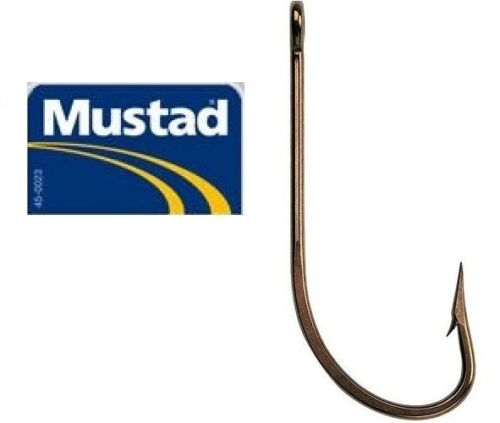 Mustad 3407BR Bronze O`Shaughnessy Hooks Sizes 12//0 /&14//0/_ Packs of 5