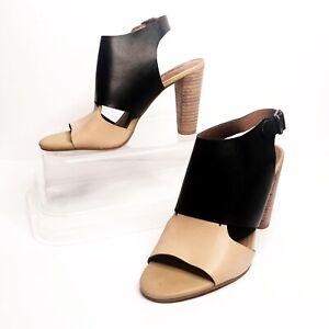 Lucky-Brand-Lotta-Heeled-Sandals-Size-8-5-Ipen-Toe-Slingback-Nude-Black