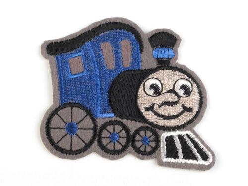 Applikation Lok royalblau Aufnäher Aufbügler Lokomotive mit Gesicht