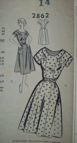 1950's 1960's Women's basic pocketed dress pattern 2862 size 14 unused