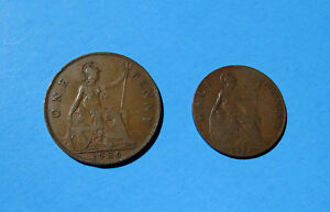 Lot-2-UK-Coins-1922-Half-Penny-and-1936-One-Penny-Great-Britain-Bronze-Coin