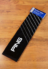 "PING Golf Plush Tri Fold Towel W/ Loop 21""x16"" Black Gray NEW!"