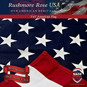 US Flag - 100% Made In USA. Cotton American Flag 3x5 Ft By Rushmore Rose USA.