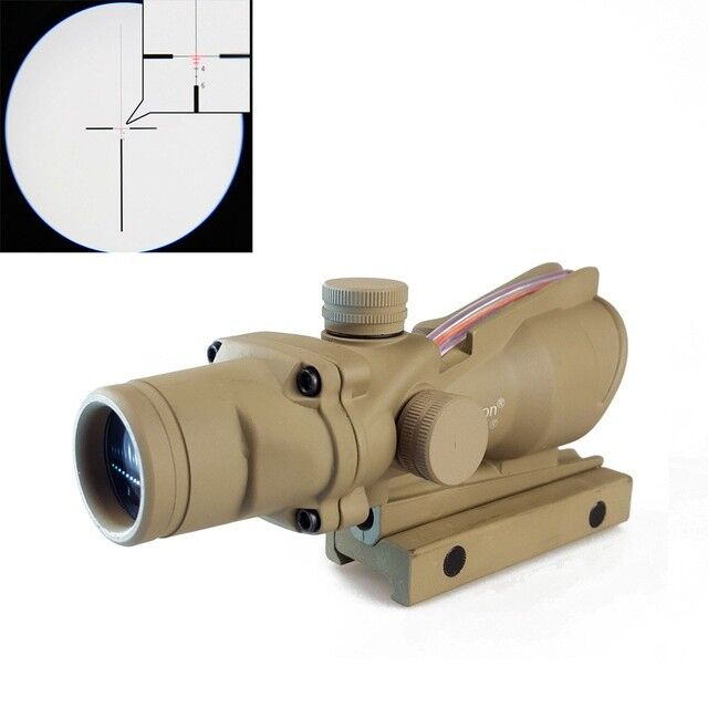 Tan ACOG 4X32 Crosshair .223 Red Illuminated Enhanced Edition Sight Tactical