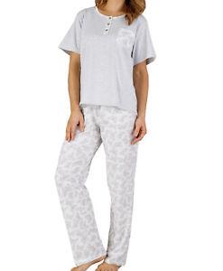new arrivals 3e707 72664 Details zu Damen Pyjama Set Slenderella Grau Marl Jersey T-Shirt &  Schmetterling