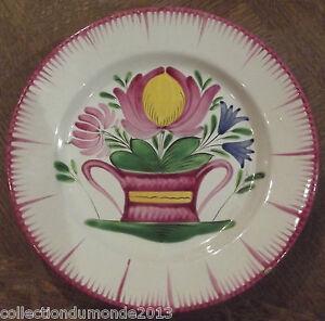 Ancienne-assiette-les-ISLETTES-19-eme-Decor-floral-France-art-de-la-table