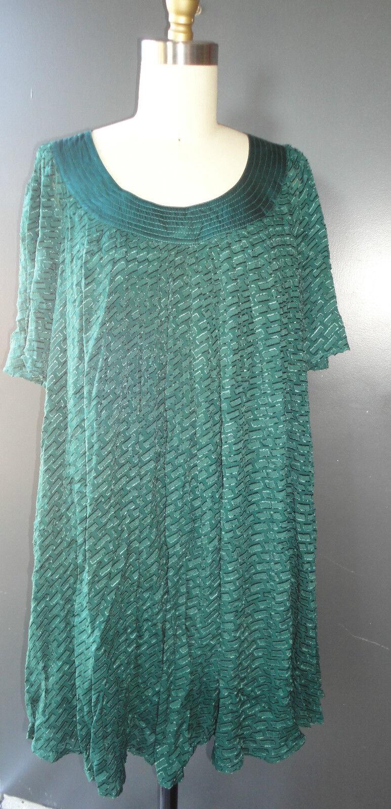 GORGEOUS CATHERINE MALANDRINO Dark Teal Grün Silk jacquard Dress 4 S