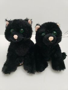 Ganz-Webkinz-2-Black-Cats-Halloween-Plush-Kitty-Twins-No-codes-Green-eyes-kitten