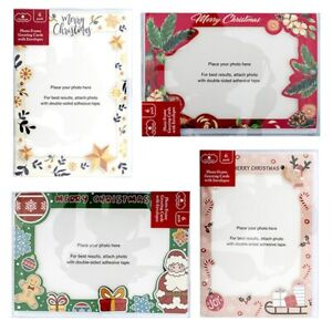 24pc Christmas Cards Foil 4''x6'' Photo Frame Xmas Greeting Card Gift Card