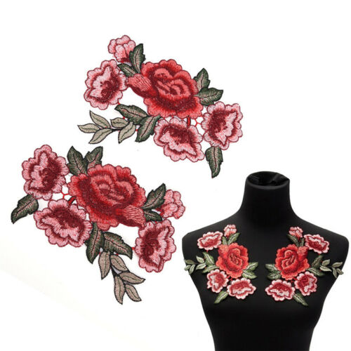 1 Pair Rose Flower Applique Embroidered Floral Collar Sew Patch Bust Dress