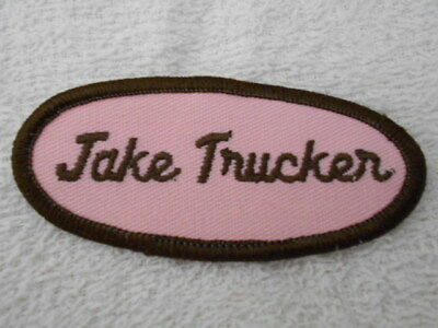 Jake Trucker Used Embroidered Sew On Name Patch Tags Oval Brown On Pink Completo En Especificaciones