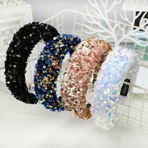 Luxury-Sequin-Padded-Headband-Women-039-s-Hairband-Wide-Hair-Band-Hoop-Accessory