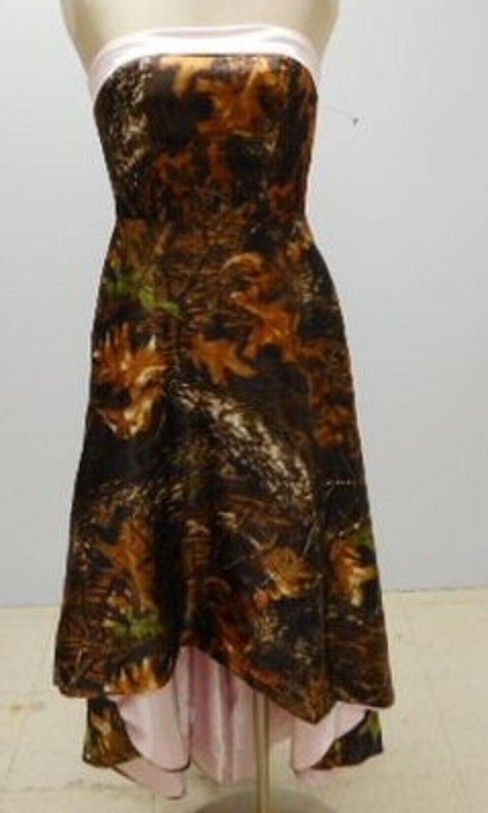 Women's Formal Prom Dress Mossy Oak Break Up Pink & Brown Camo