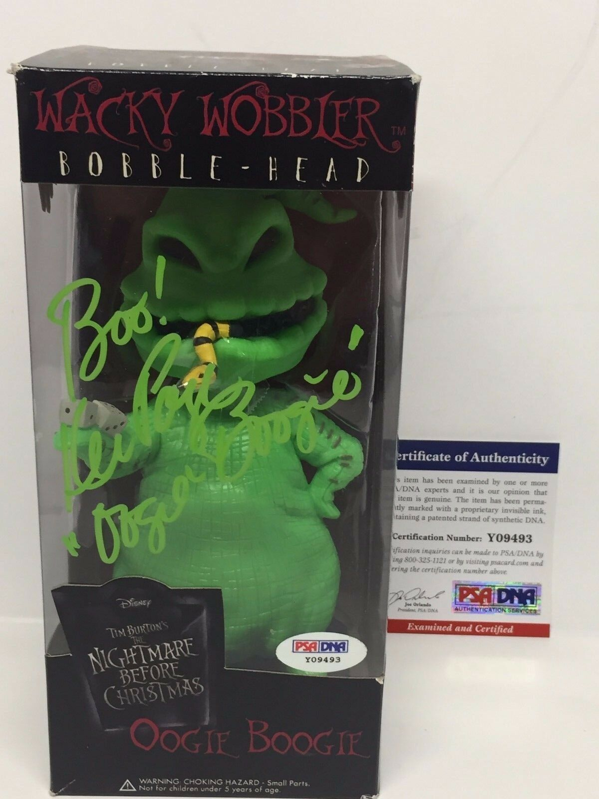Ken Page Signed Oogie Boogie Wacky Wobbler Bobblehead Nightmare Before X-MAS PSA