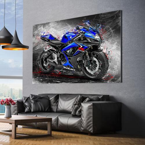 Leinwand Bild Suzuki GSX R 750 Motorrad Wandbild Poster XXL Abstrakt Kunstdruck