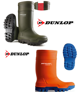 Dunlop Purofort Thermo+ Safety Wellington Boots orange Green. Insulation to -50°