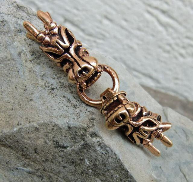 3 Stück Wikinger Bronze Gewandhaken Verschluß Drache z. annähen Drachenkopf