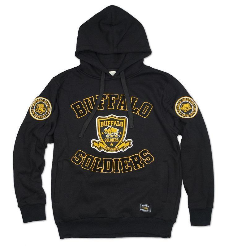BUFFALO SOLDIER Gold Black Hoodie Jacket US ARMY Pullover Hoody Jacket 1866