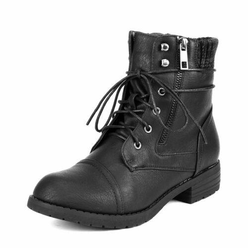 Women/'s Low Heel Heel Amkle Booties Lace Up Side Zipper Combat Riding Boots