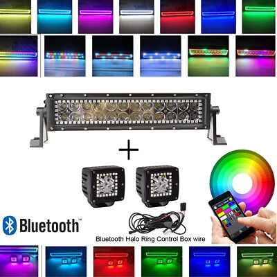 """72W 13.5/"""" Led light bar Multi color changing RGB halo ring+2pcs 3 Inch pods halo"""