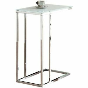 Details About Coaster Gl Top End Table In Chrome And White