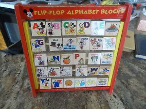 Educational Toys Age 2 : Vintage wooden mickey mouse flip flop alphabet blocks age 2