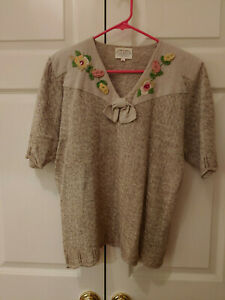 Vtg-91-Women-Susan-Bristol-Hand-Embroidered-Sailor-Collar-Oatmeal-Sweater-Size-L