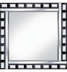 Classic-Tile-Mirror-Black-Silver-Square-Wall-Mirror-60cm-x-60cm-Beveled