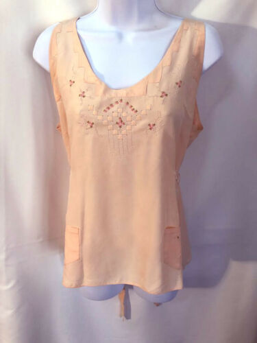 VTG Lovely French Delicate Pink Peach silk embroid