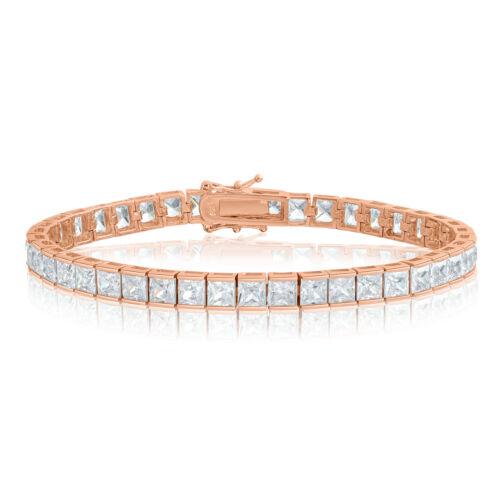 Zircon Tennis Bracelet Plaqué Or Rose Argent 4x4mm Carré Blanc Zircone cubique