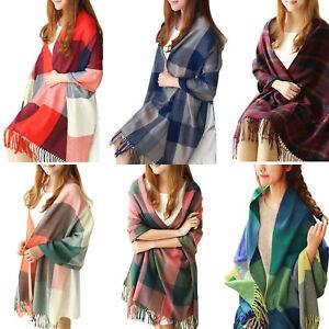 Women-Winter-Warm-Scarf-Lady-Neck-Shawl-Wrap-Plaid-Tartan-Soft-Large-Fashion