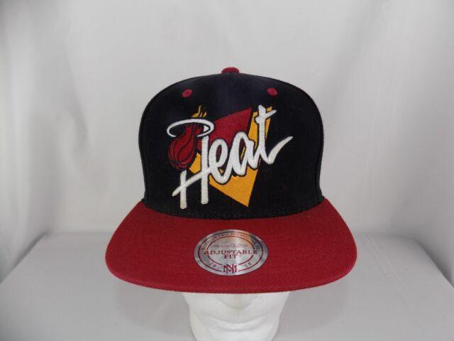 9190e120850b8 Mitchell   Ness NBA Miami Heat Black Old School Snapback Cap Hat