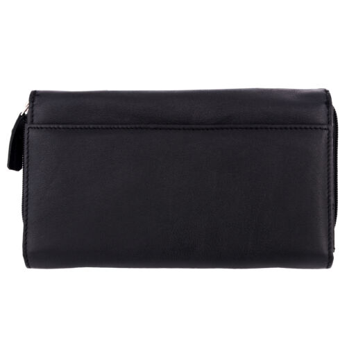 Genuine Leather Women's Wallet Check Book Holder Multi Compartment Travel Clutch