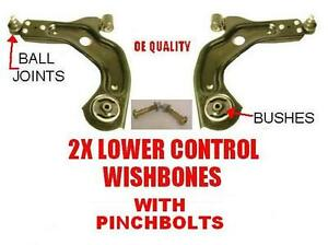 FORD-FIESTA-96-02-FRONT-2-LOWER-WISHBONE-ARMS-BALL-JOINTS-BUSH-BUSHES-PINCHBOLTS