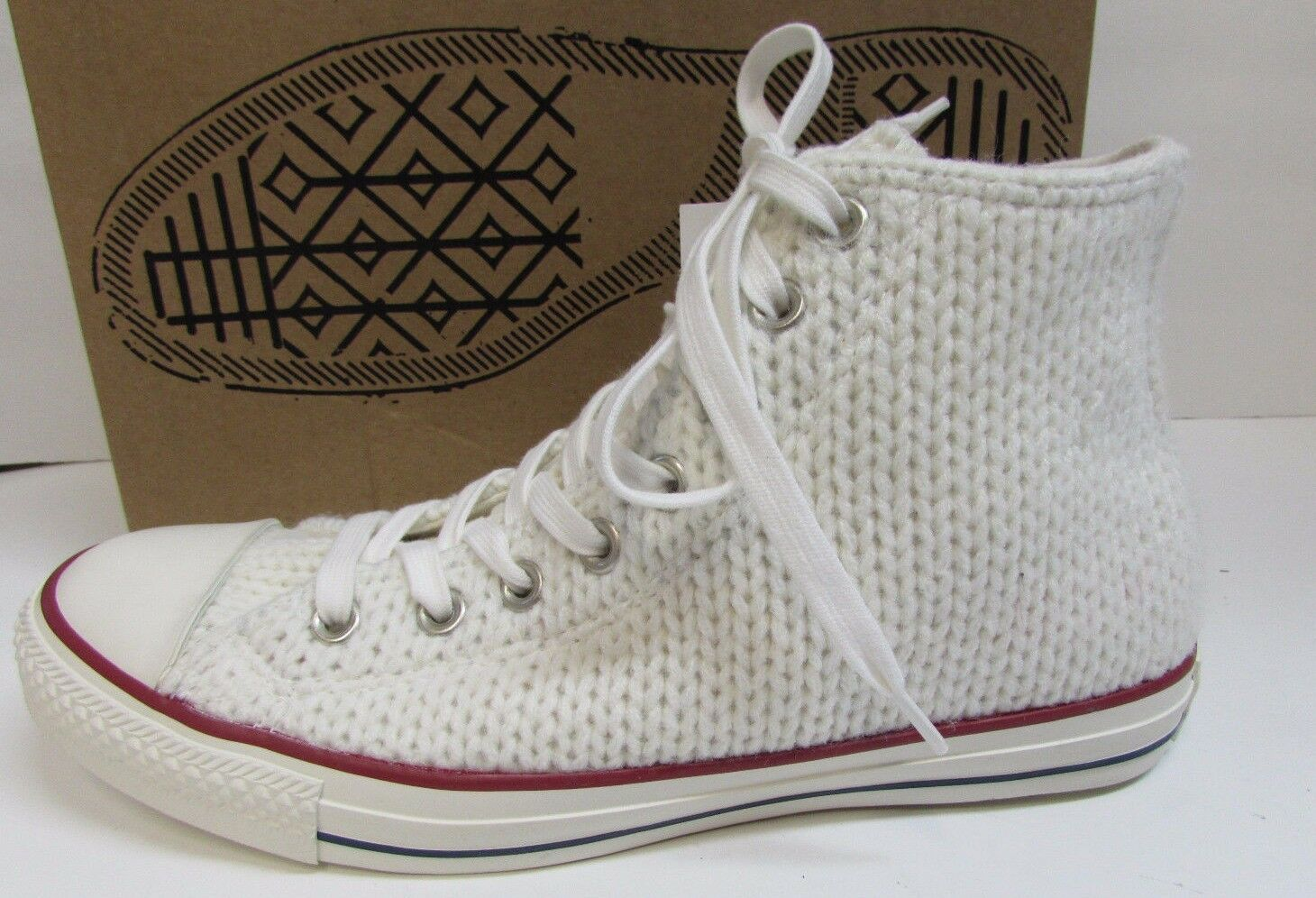 Converse Size 9 White Knit Hi Top  New Donna Shoes