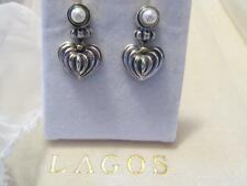 Vintage Lagos Caviar Pearl Heart Drop Dangle Sterling Silver & 18K Earrings