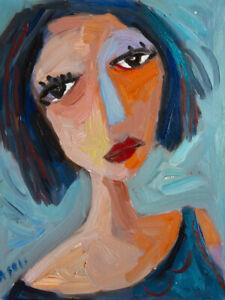 "Original Art Portrait Oil Painting on Stretched Canvas 14"" x 11"""