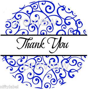 LIGHT BLUE  DAMASK  DESIGN #101 THANK YOU STICKER LABELS