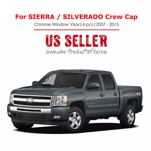 Rain Guards For Trucks >> Details About Chrome Rain Guard Vent Visors For Chevy Silverado 07 13 Gmc Sierra Crew Cab New