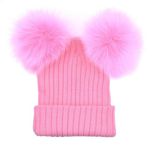 Damen Strickmütze Wintermütze mit Zwei Fell Bommel Kunstfell Beanie Bommelmütze