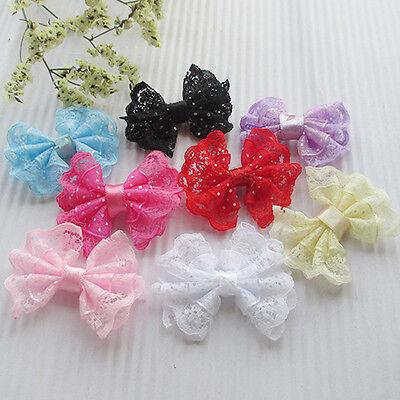 8/32/72/160PCS  Ribbon Trim Bows Flowers W/ Rhinestone Appliques Wedding A0408