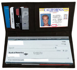 Black-Leather-Checkbook-Cover-ID-Card-Holder-Clutch-Wallet-For-Men-Women