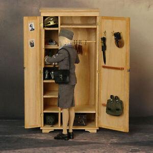 ... FIGURE TOYS 1/6 Pure handmade Solid wood wardrobe storage box | eBay