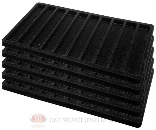 5 Black Insert Tray Liners W/ 10 Slot Each Drawer Organizer Jewelry Displays