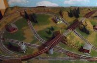 N SCALE CUSTOM MADE LAYOUT PLATFOARM WITH LAKE  one train operation