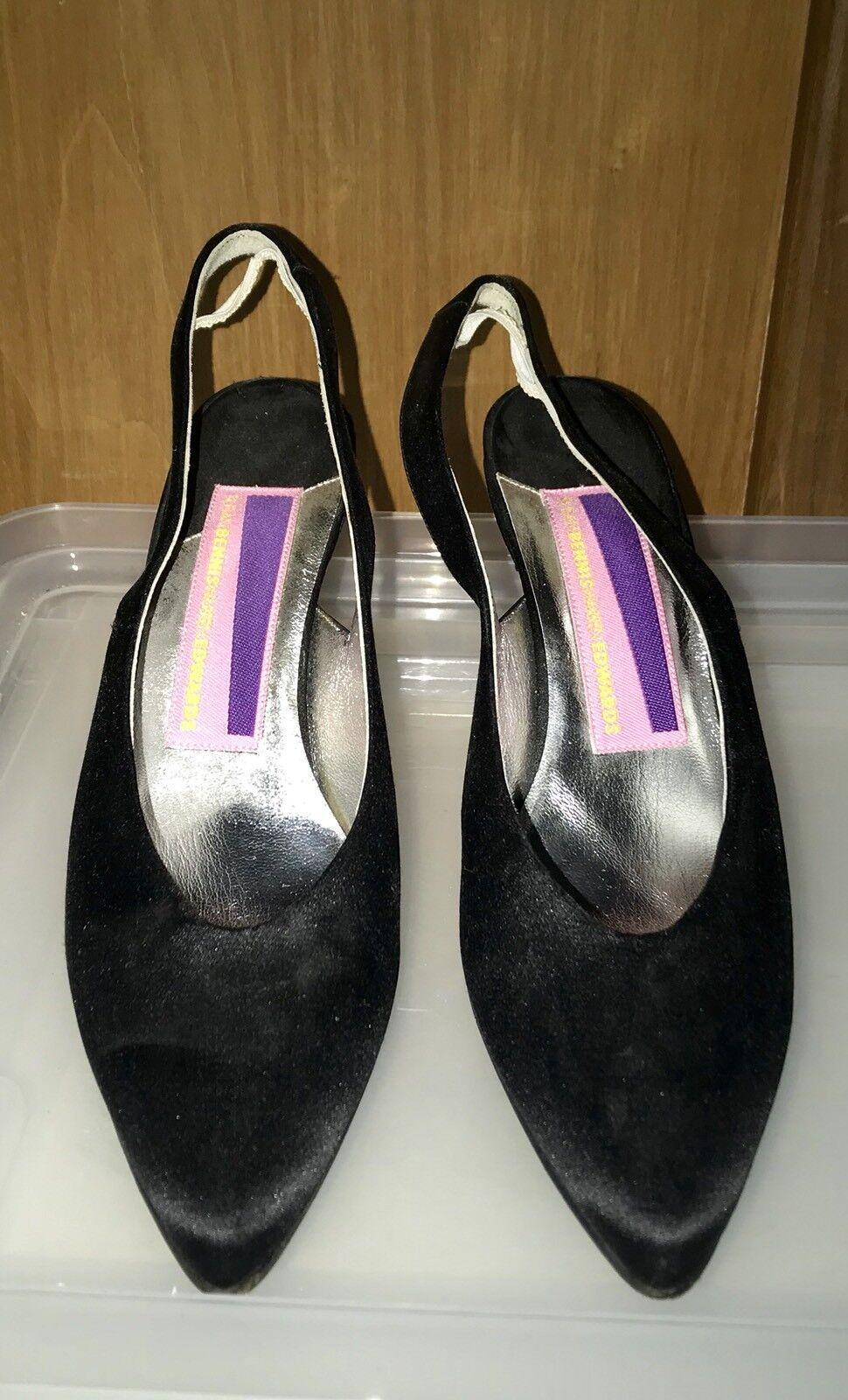 Susan bennis Negro Satinado ESLINGA vuelta Zapatos Zapatos vuelta 8 1 2 B ejecutar pequeños d9a756