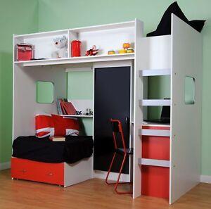 Image Is Loading Rutland High Sleeper Bed Inc Top And Futon