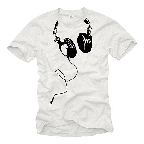 HIP HOP MUSIC DJ MEN SHIRT WITH HEADPHONES SHORT SLEEVE GETTO RAP TEE